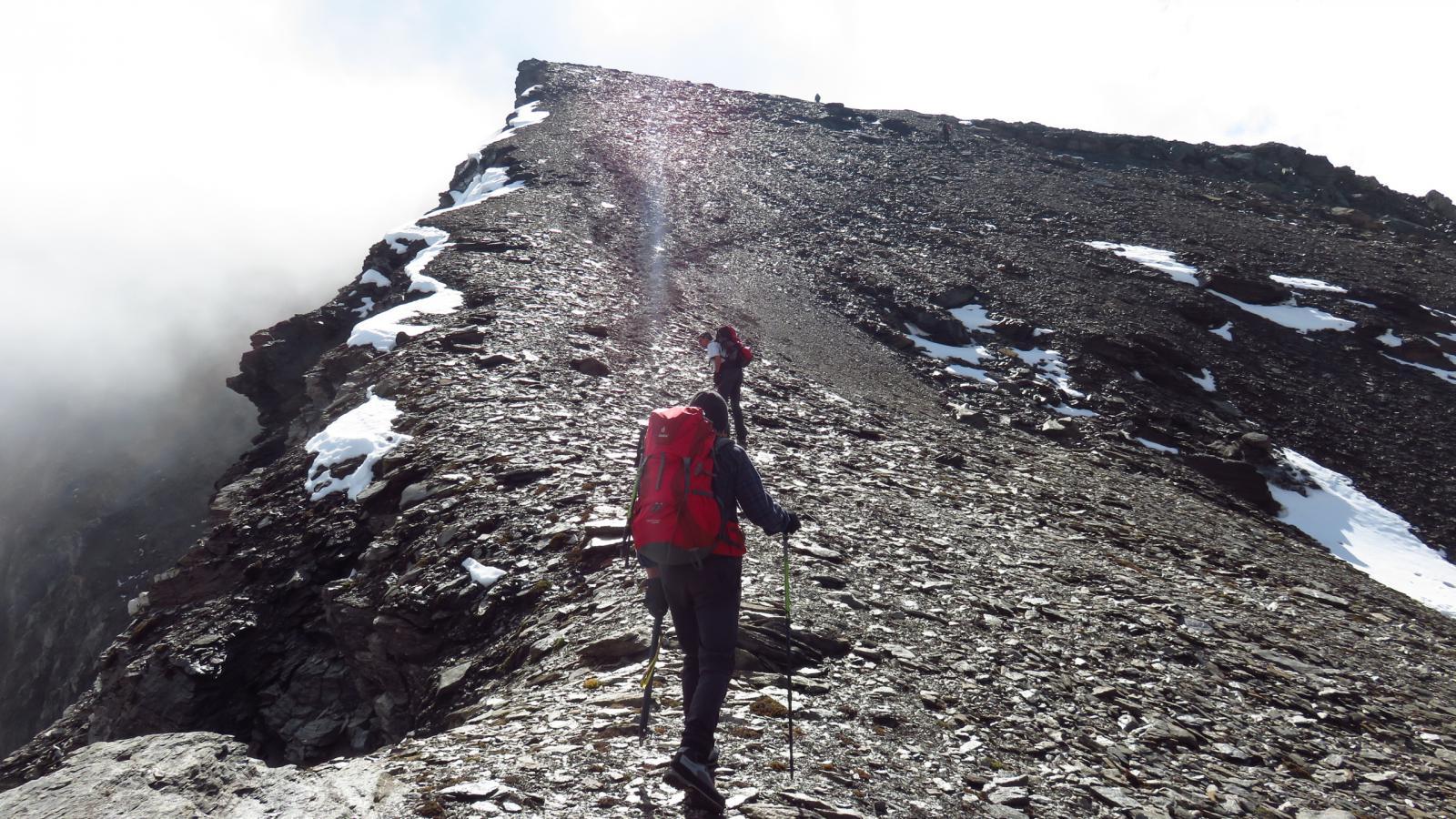 la parte iniziale della cresta NO della Cima d'Oin vista dalla depressione di quota 3127 m