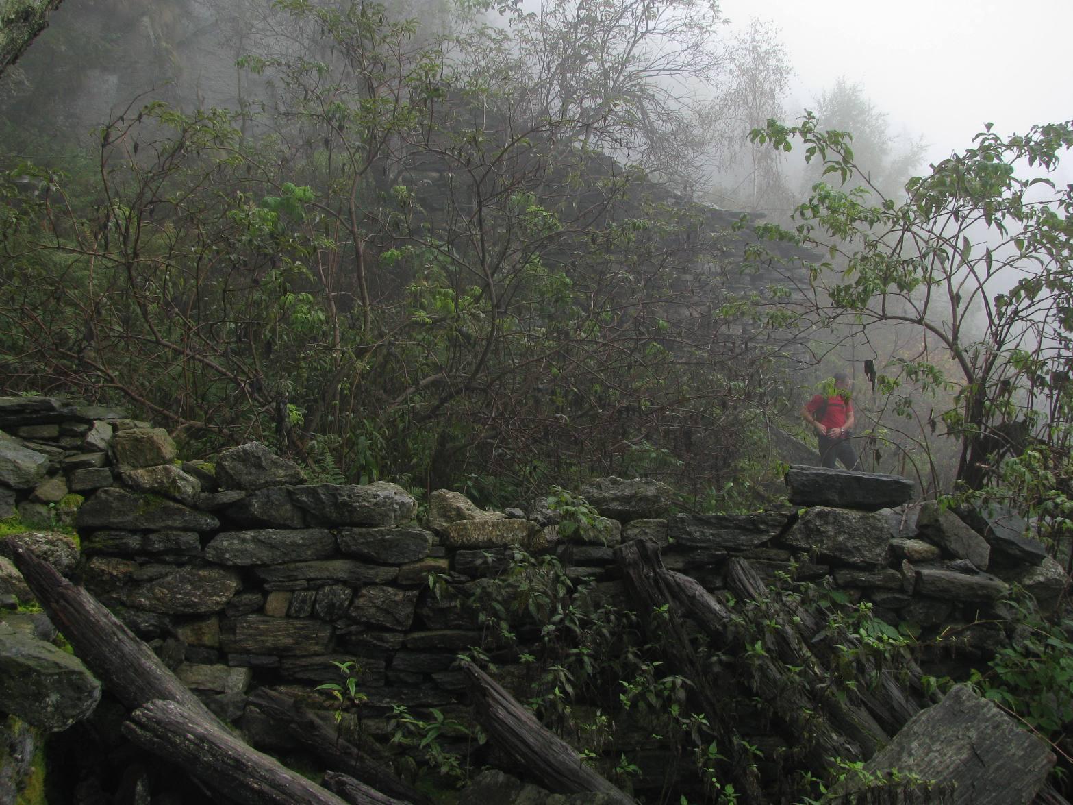 Ruderi nella nebbia , all'Alpe Lavenca di sotto