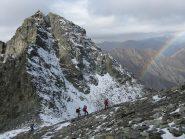 la nord del Granero illuminata dall'arcobaleno