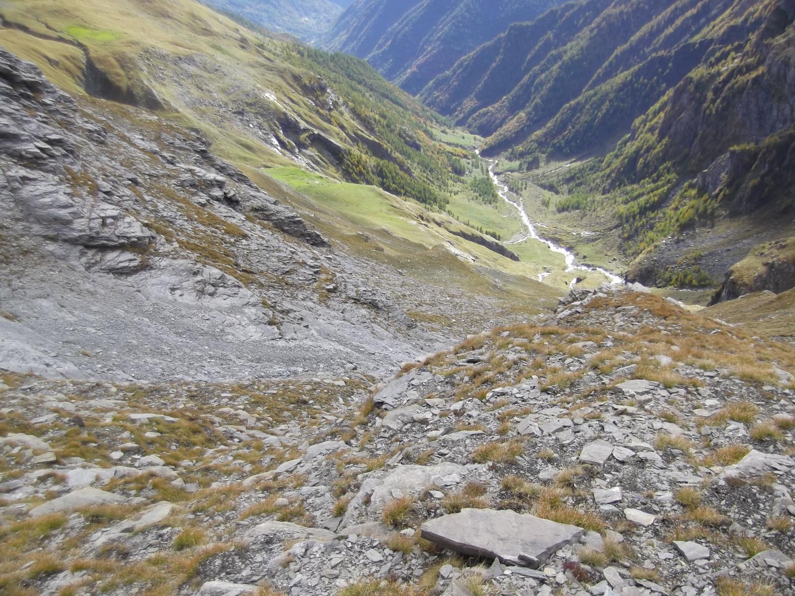 L'itinerario A di salita visto dall'alto
