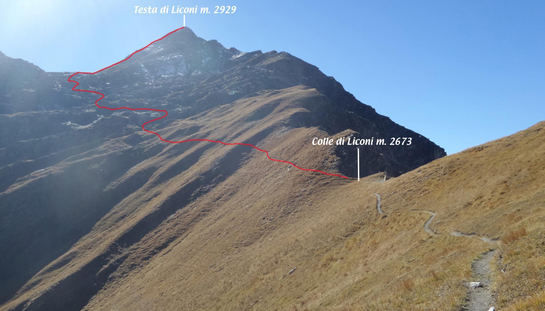 il tracciato della parte alta della via di salita visto dal sentiero che porta al Colle di Liconi