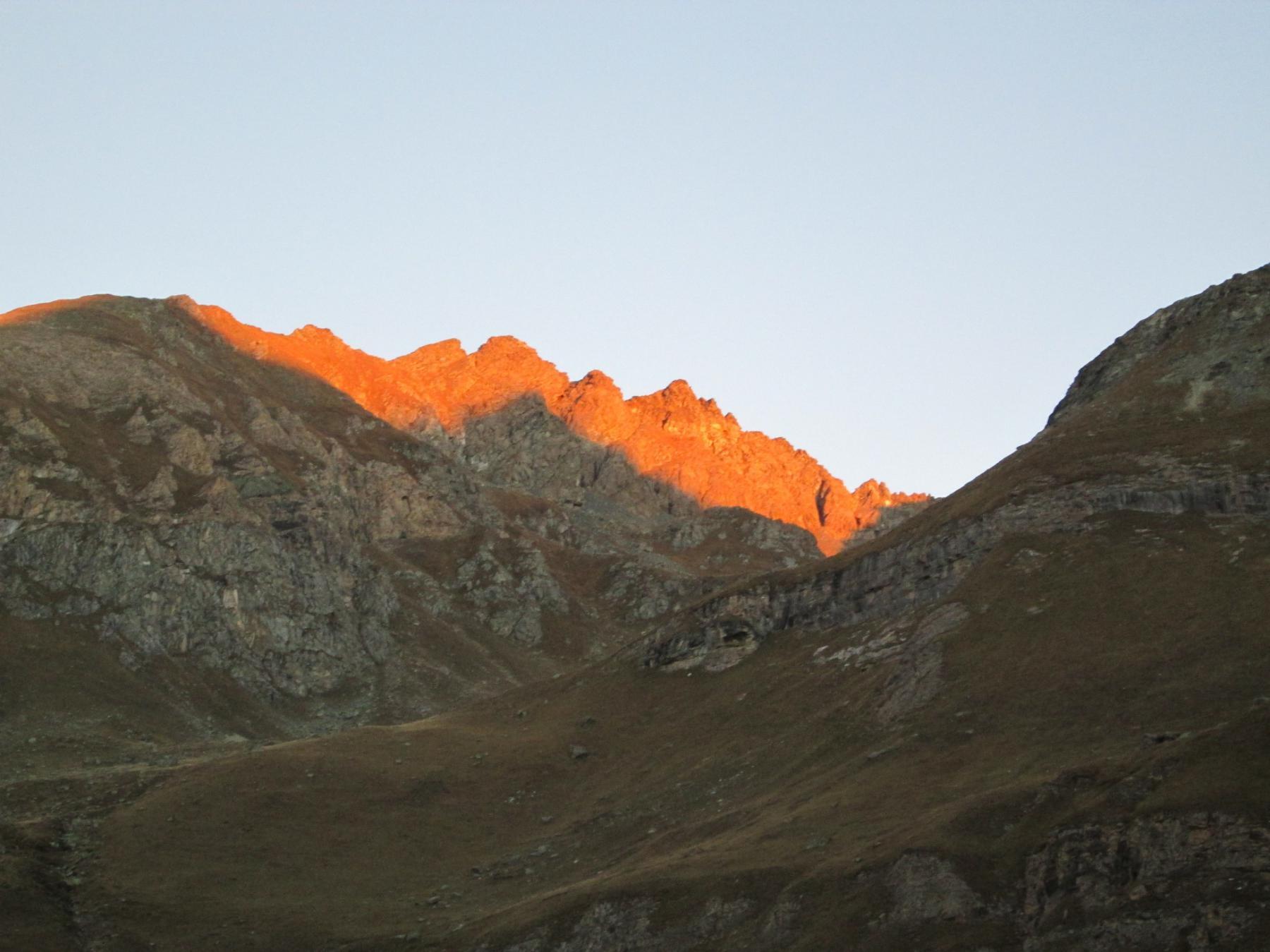 cresta Dumontel col primo sole