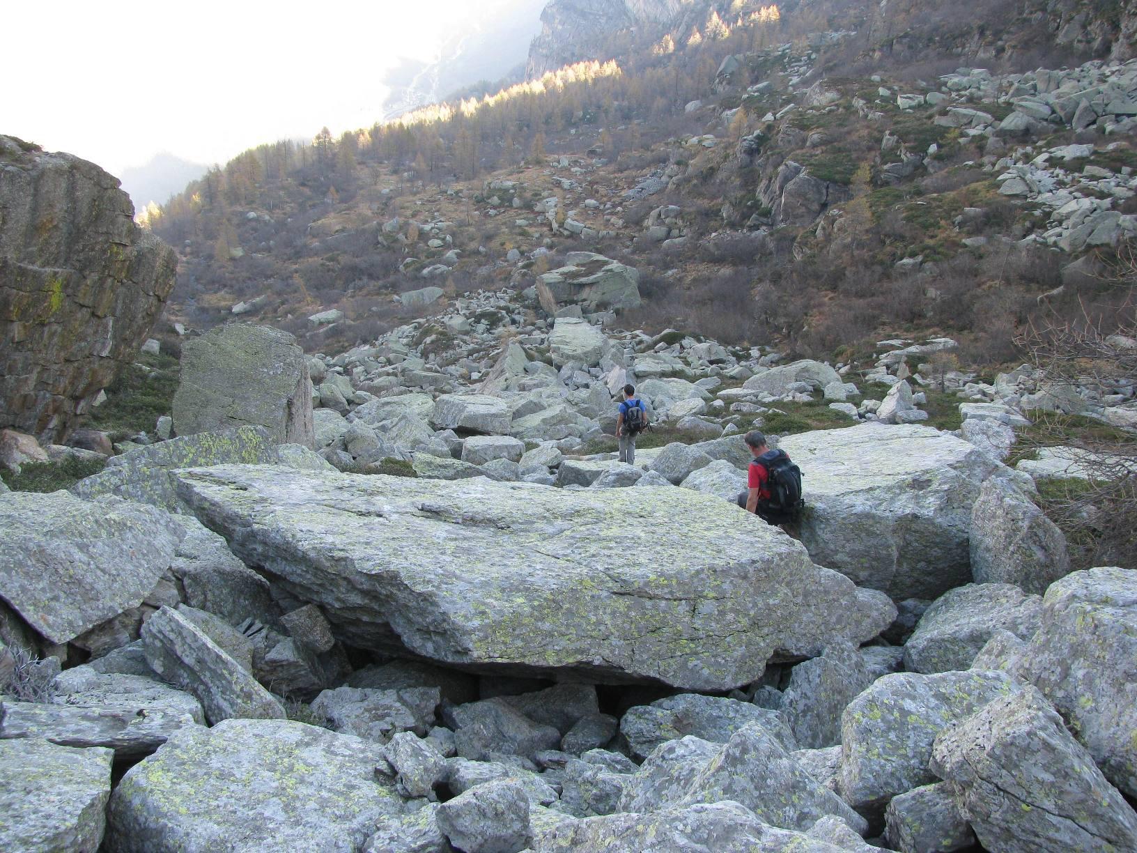 In discesa nella pietraia verso l'Alpe Argensana