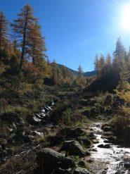 Ghiaccio lungo il sentiero salendo nel Vallon de Prals