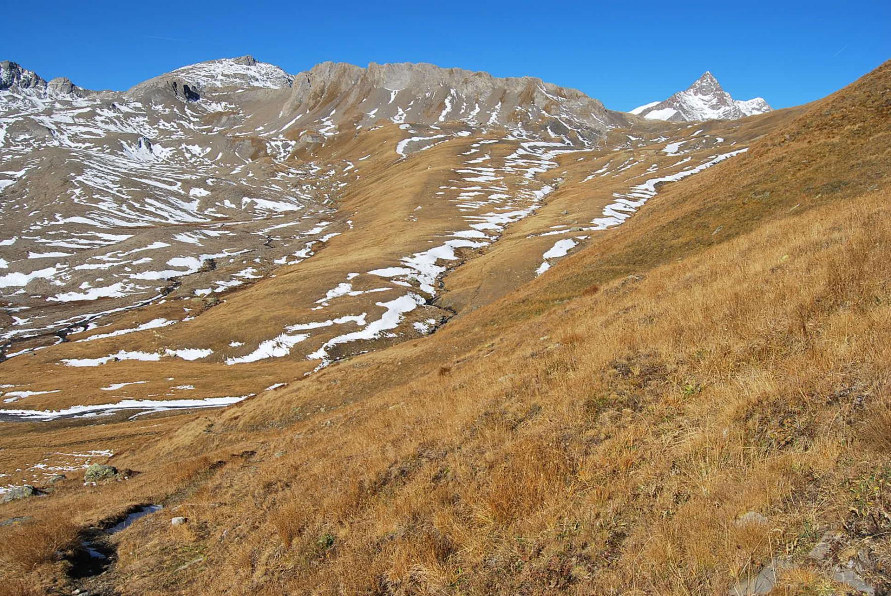 Vista dal sentiero 10: la testata del Vallone del Breuil con il Colle di Bassa Serra.