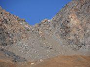 03 - sotto il Col du Lou, tracce di sentiero nel canalone