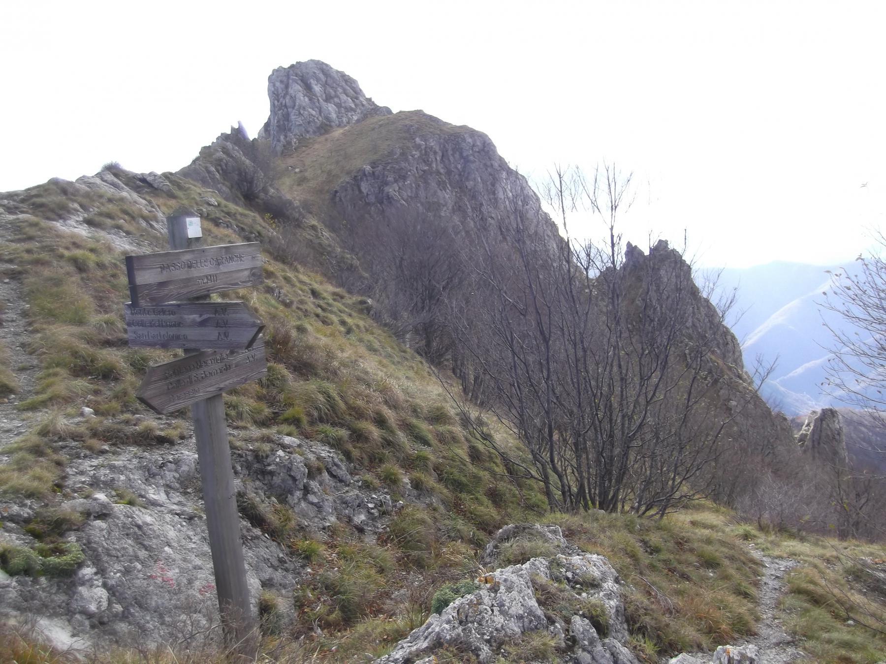 Passo delle Caranche e a dx il sentiero di salita