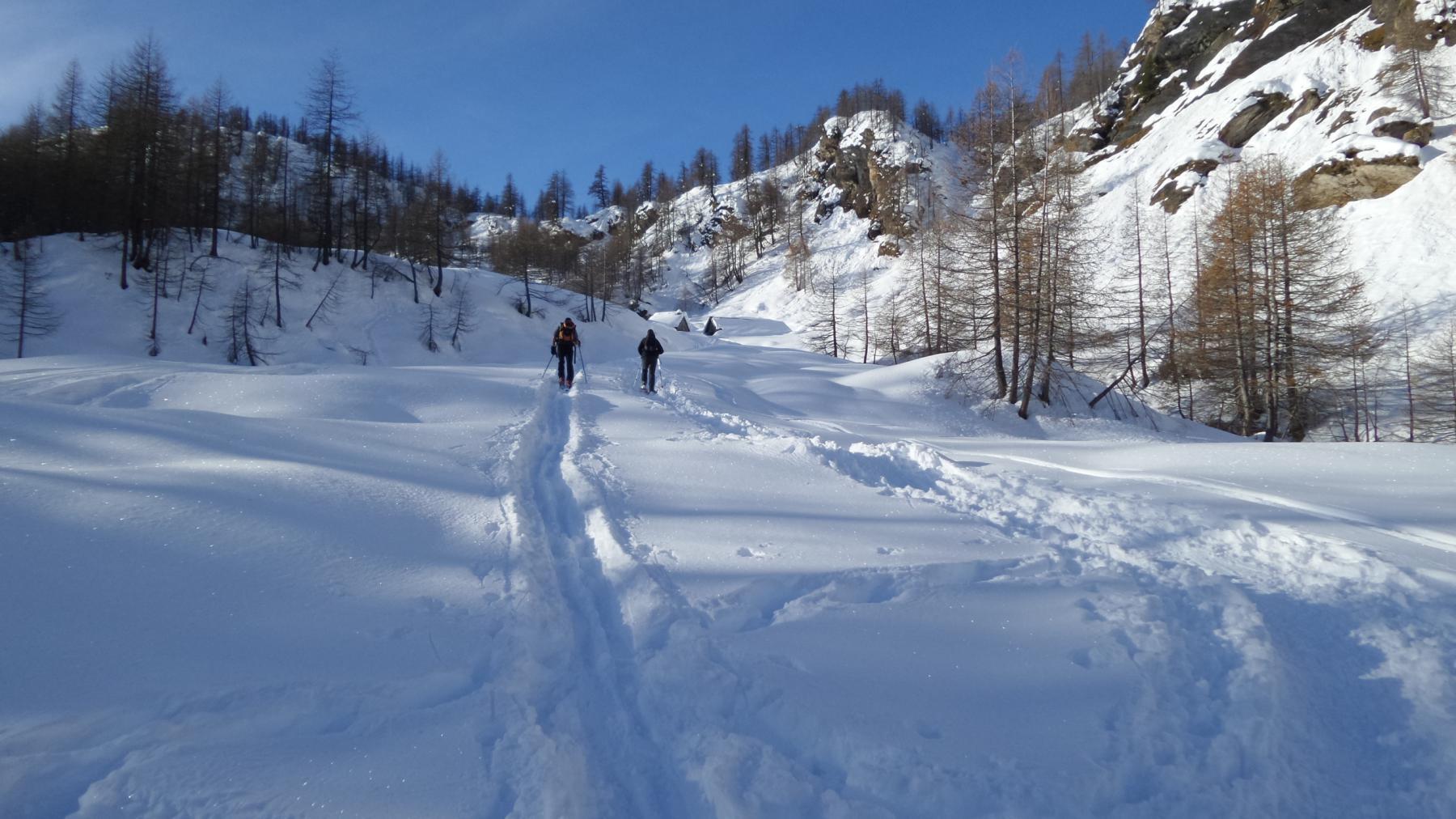 salendo il primo pendio nevoso sopra Piedimonte