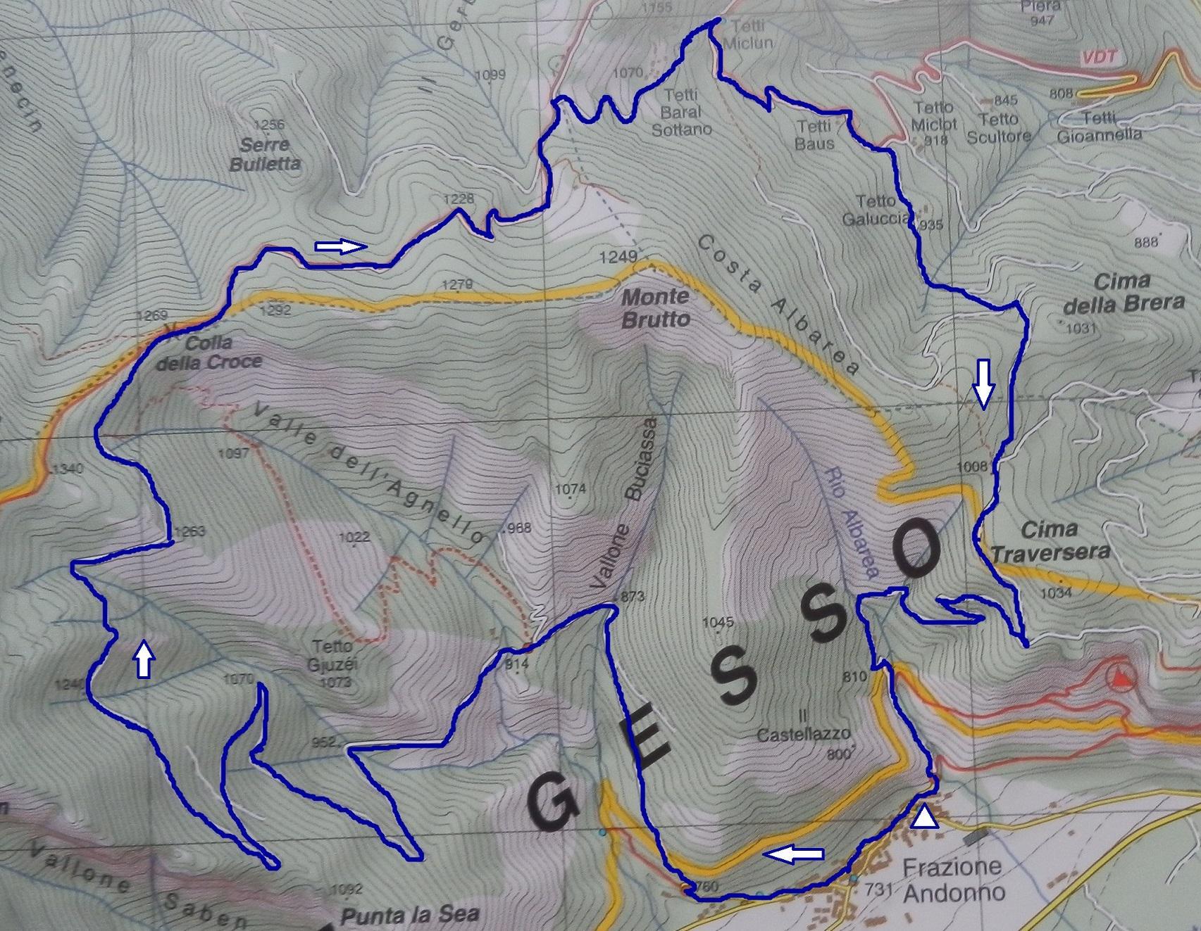 in colore blu, traccia del percorso su carta Fraternali