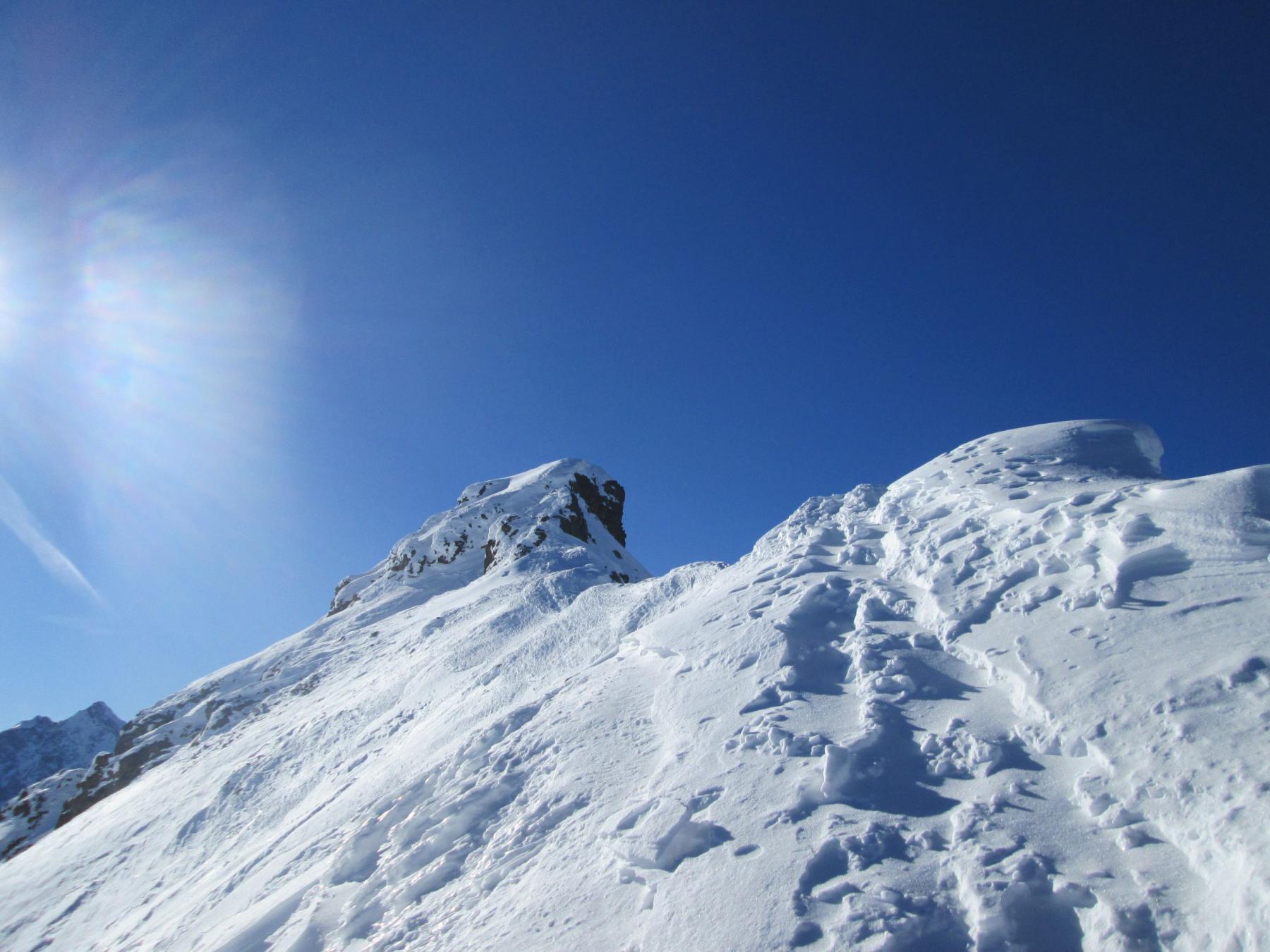 Arrivato in cresta quota 3115, con la cima di fronte