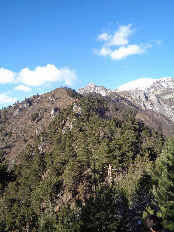 lunghi tratti boscosi alternati a qualche tratto rocciso