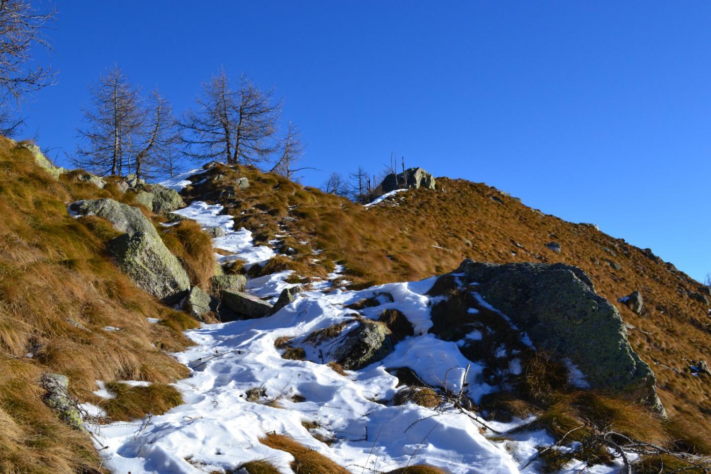 la dorsale priva di neve che porta in cima