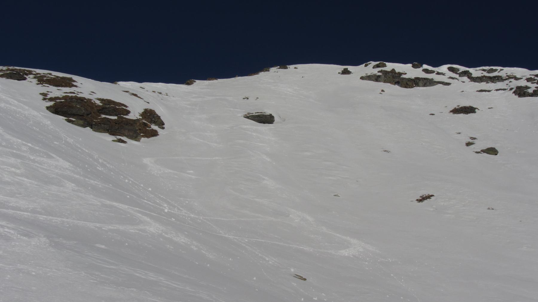 Le nostre tracce di discesa dalla punta Valnera