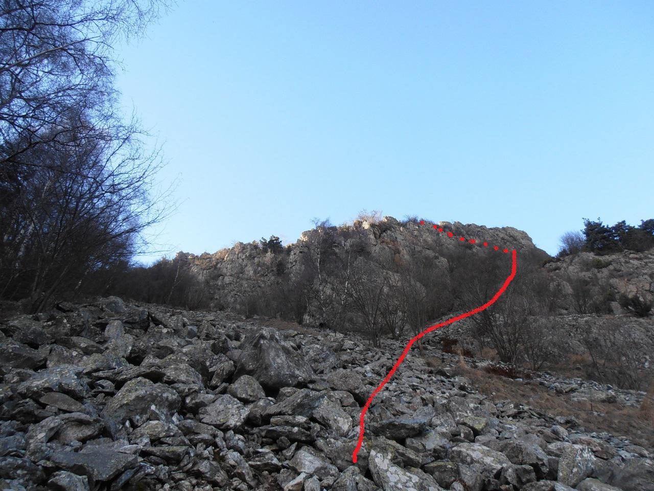 01 - arrivando dal sentiero Stella Polare in direzione Arponetto, ecco la direzione da tenere una volta arrivati al primo ghiaione
