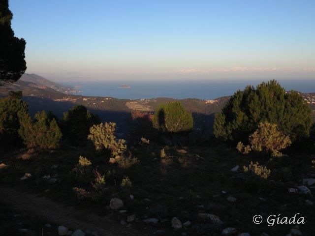 La costa ligure con l'Isola Gallinara
