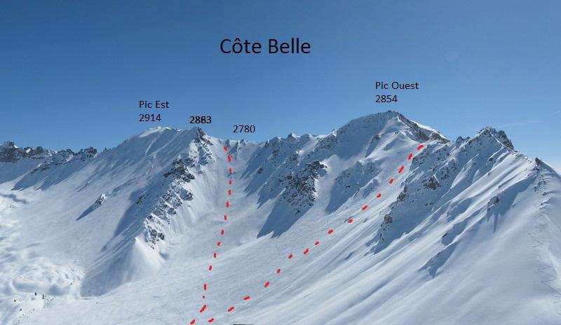 Cote Belle pic ouest - versante N. A dx in salita, a sx in discesa (foto skitour)