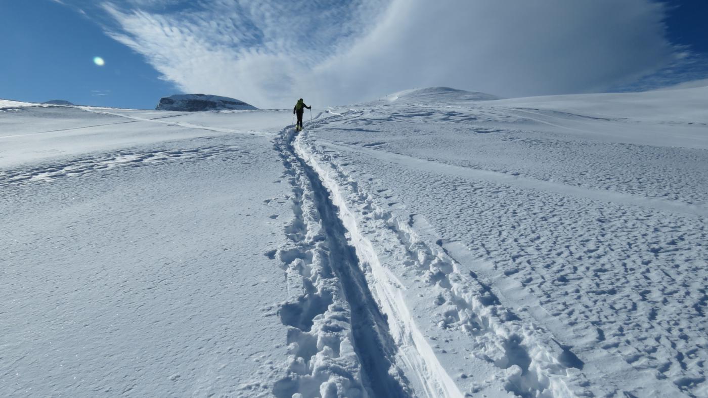Luigi in azione sul pendio sopra l'Alpe Misanco