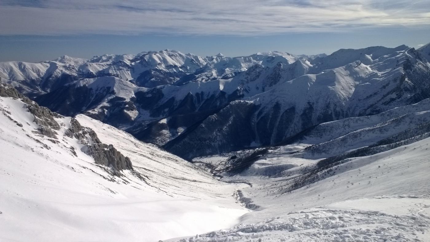 Dalla cima panorama verso il vallone salito