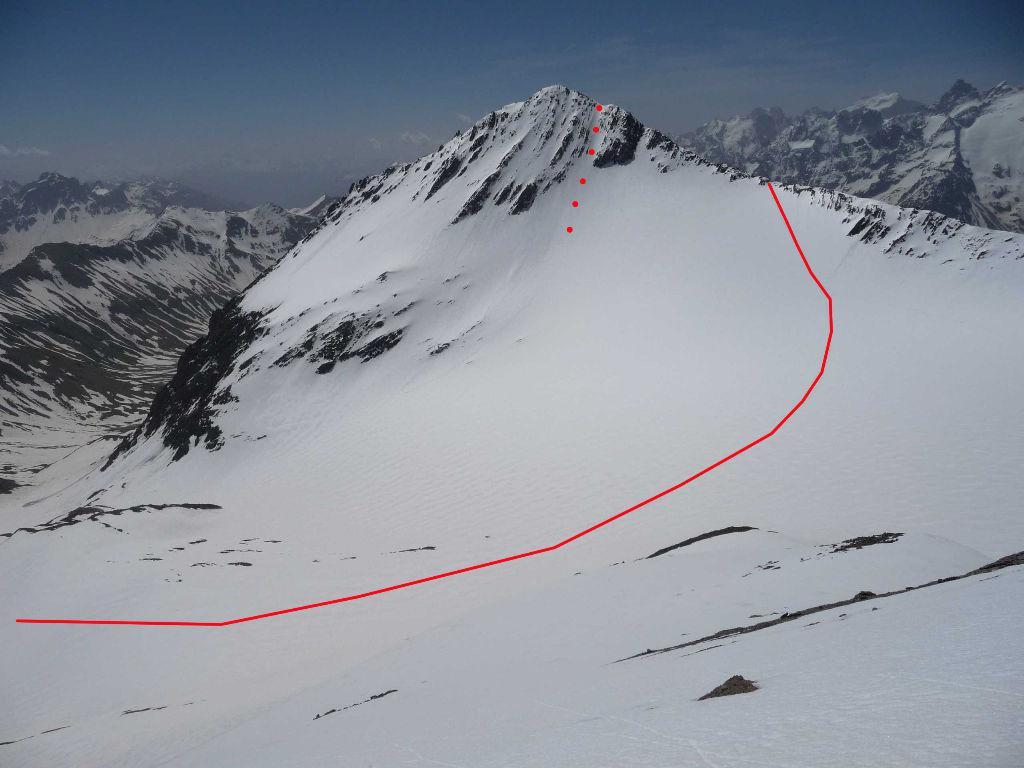 Aiguille de Goleon - percorso sul Glacier Lombard. Cresta NO e canale