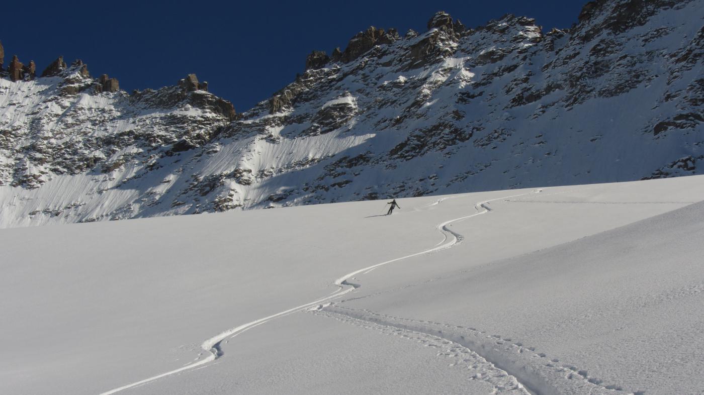 In discesa sul ghiacciaio