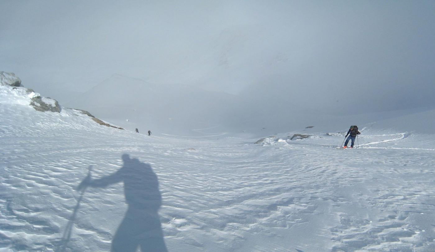 la parte più ripida del ghiacciaio di Lepère