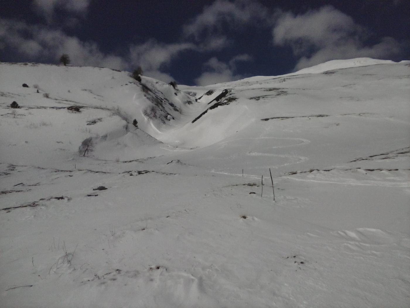 discesa in basso nel canale con neve trasformata anche se poca...