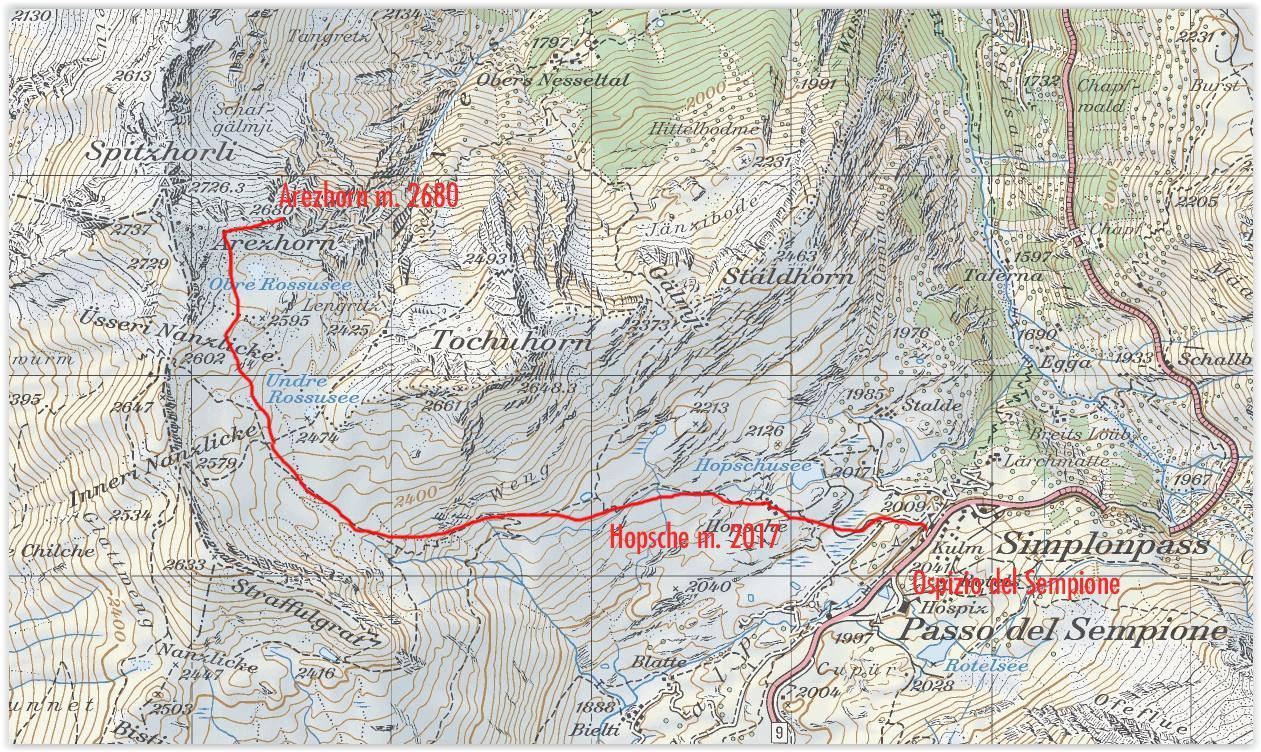 stralcio di mappa CNS e via di salita seguita per la cima