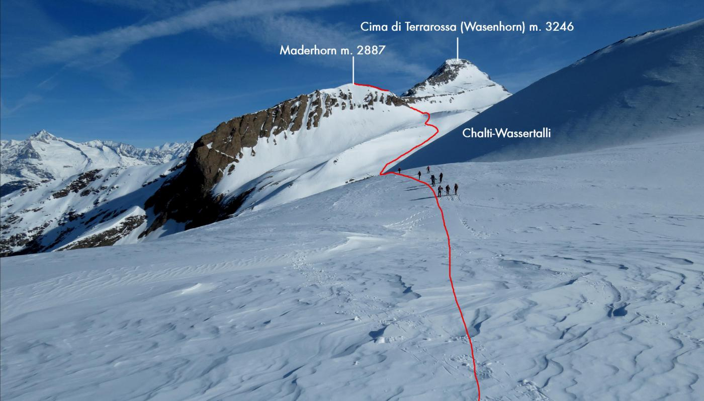 la parte iniziale del traverso che porta nel vallone Chalti-Wassertalli