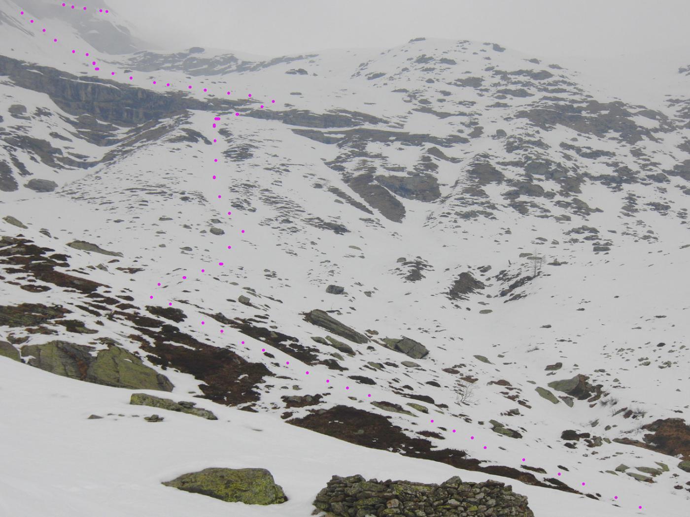 Itinerario alla selletta nord di cresta Vasuera
