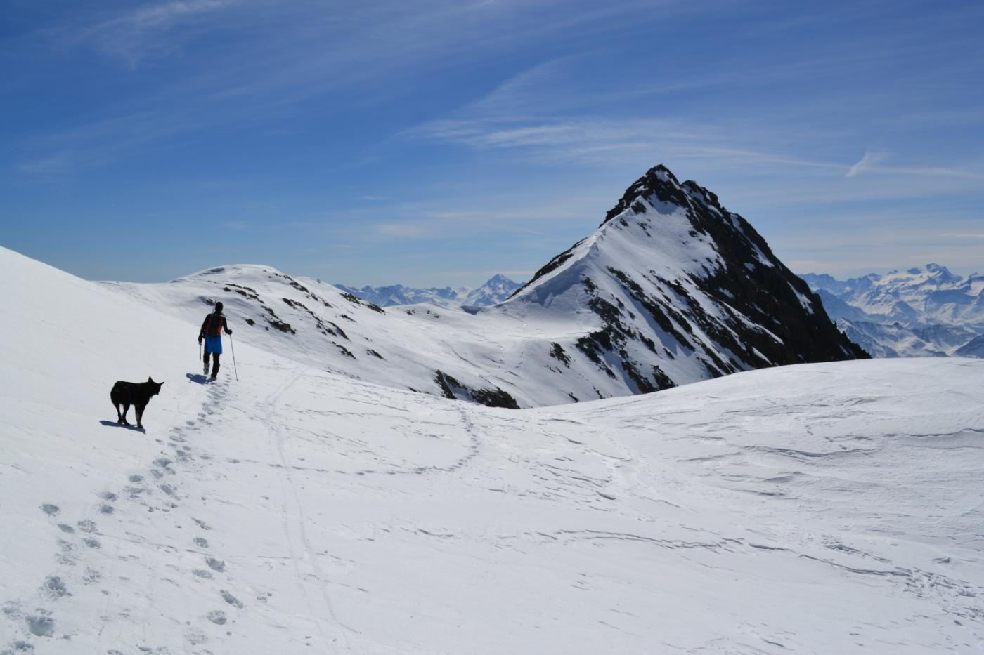 la cresta che collega la cima al Monte Cervo (a destra nella foto)