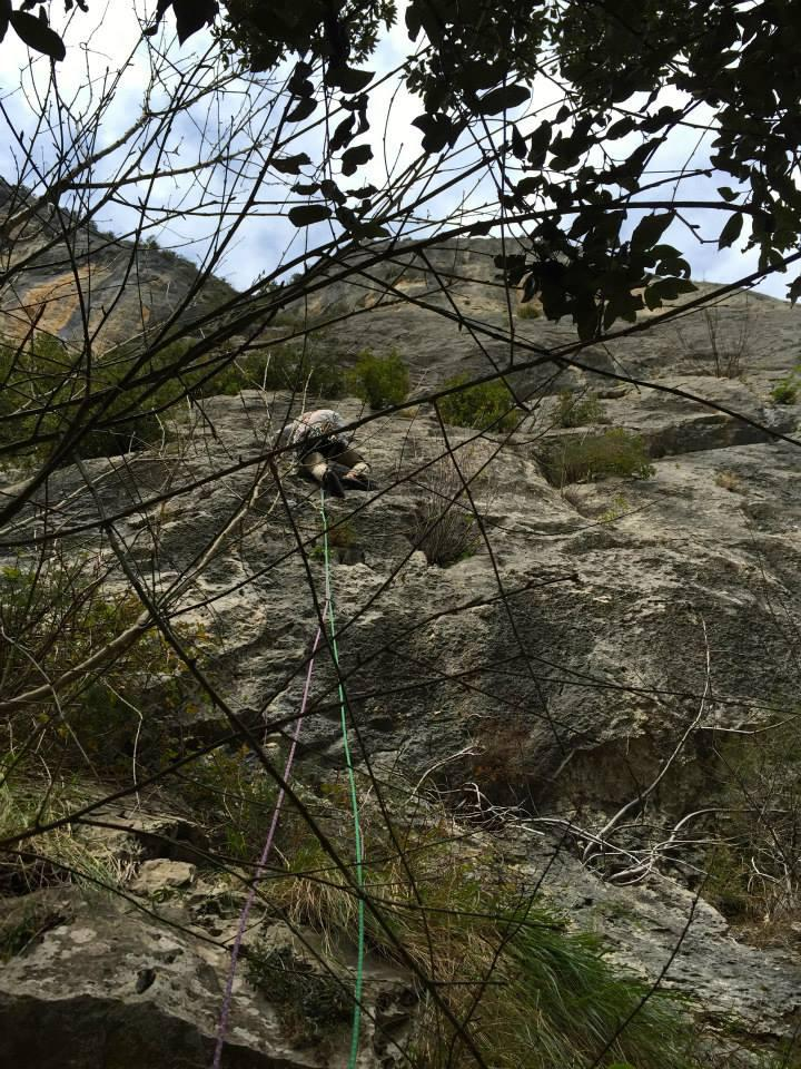 Primo tiro, cordone ammuffito sull'albero alla base più vicino agli spit