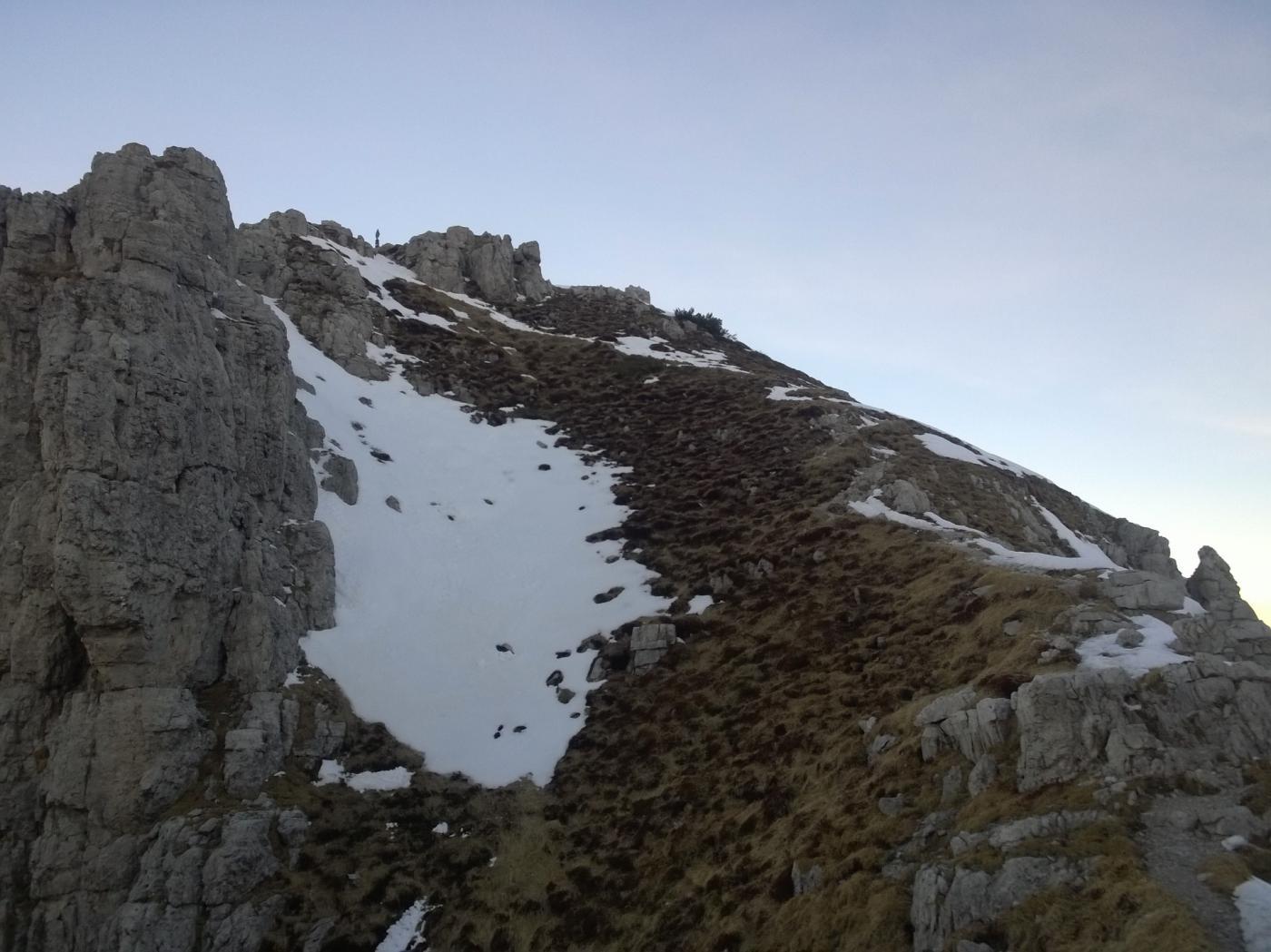 La cresta vista dall'uscita del canale
