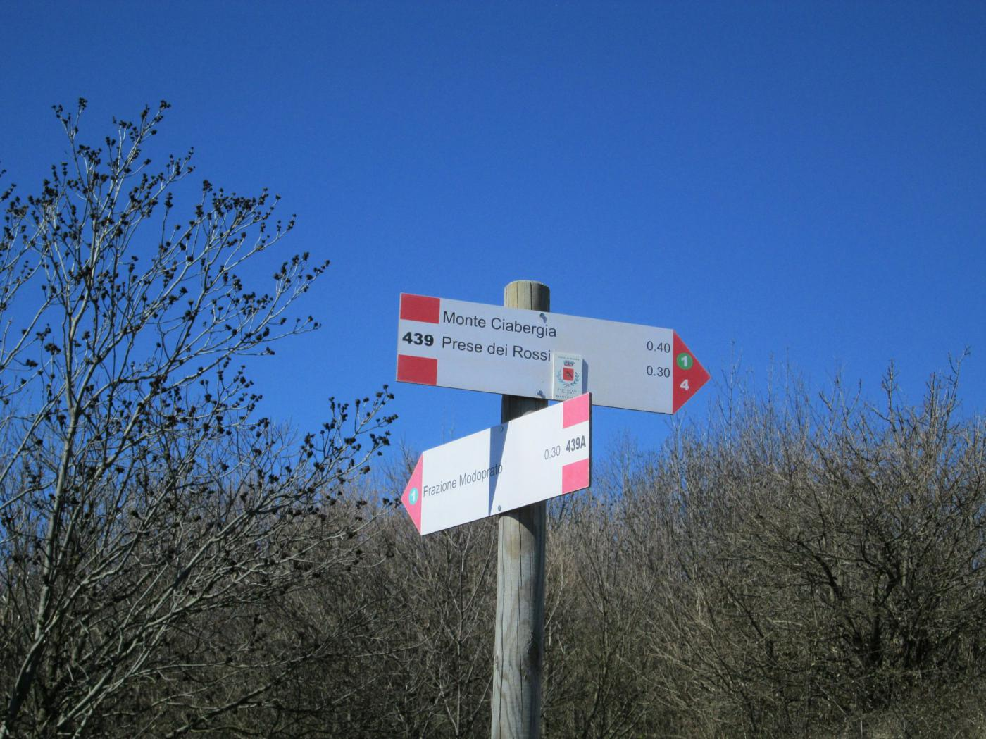 cartello per Monte Ciabergia