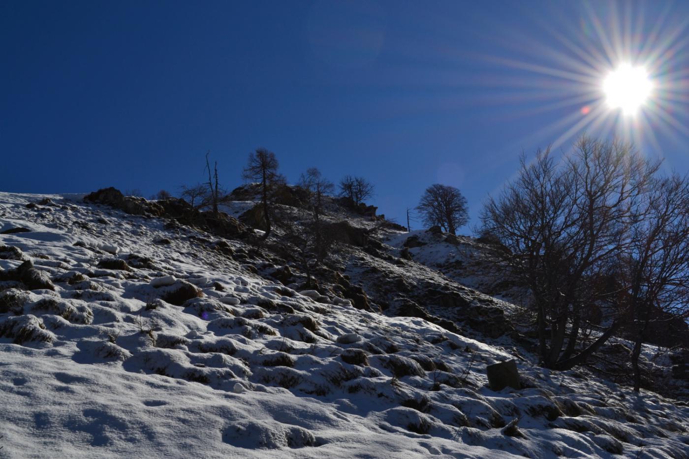 percorso sempre ripido su pochi cm di neve fresca