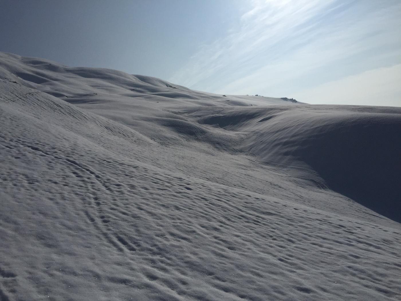 Neve primaverile portante ma non ghiacciata, ottima salita