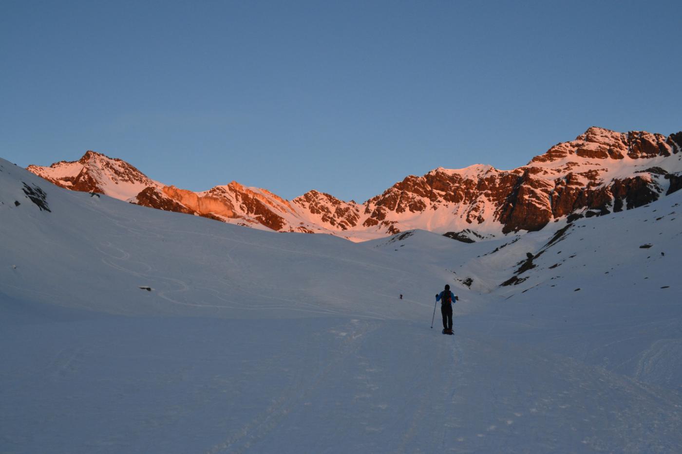 primo sole sulle cime nei pressi del Rifugio Sella