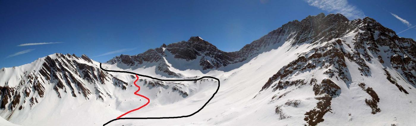 itinerario visto dal col entre deux sautes:nero salita normale,rosso salita sentiero estivo