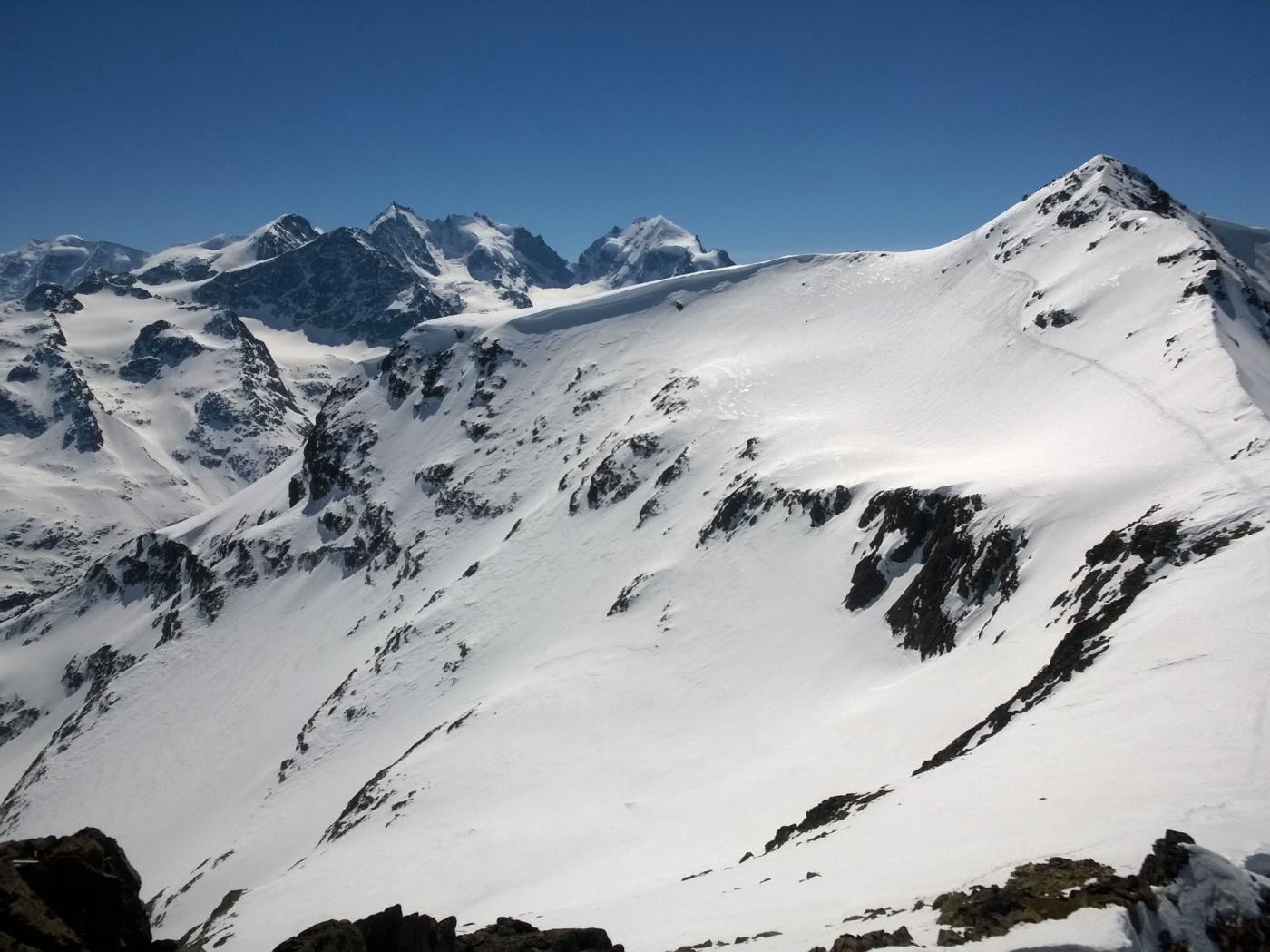 Panorama sul Bernina dal Piz San Gian