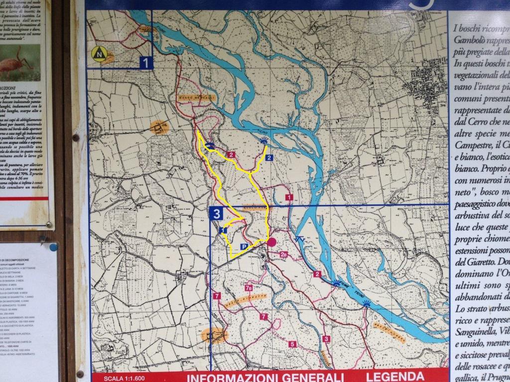 La cartina con i percorsi alla bacheca appena entrati nella Tenuta Ronchi; in giallo l'anello seguito