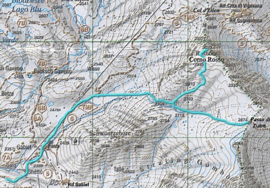 Itinerario al Corno Rosso e Passo Zube dal Gabiet