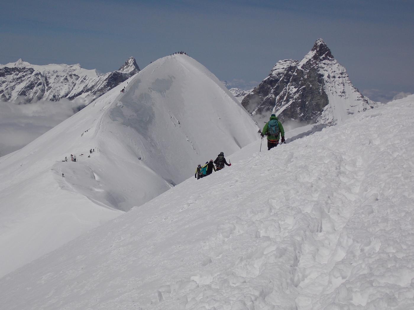 Il Breithorn occidentale molto affollato
