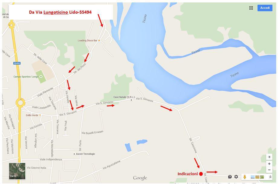 Il tratto in Vigevano (senza indicazioni) per arrivare alla Lanca Ayala (fonte Google Maps)