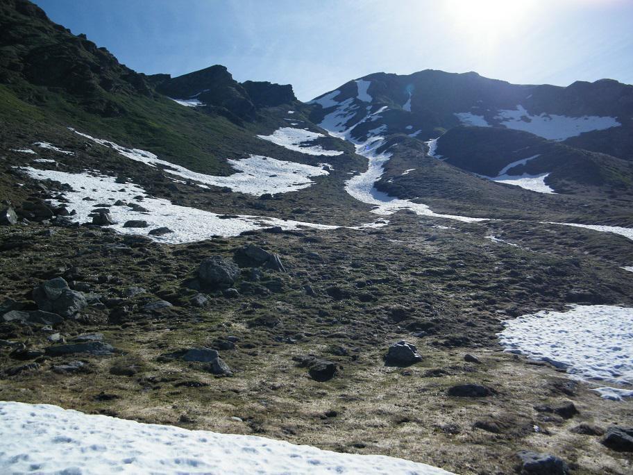 Il Colle dell'Usciolo visto da poco sopra l'ultimo alpeggio