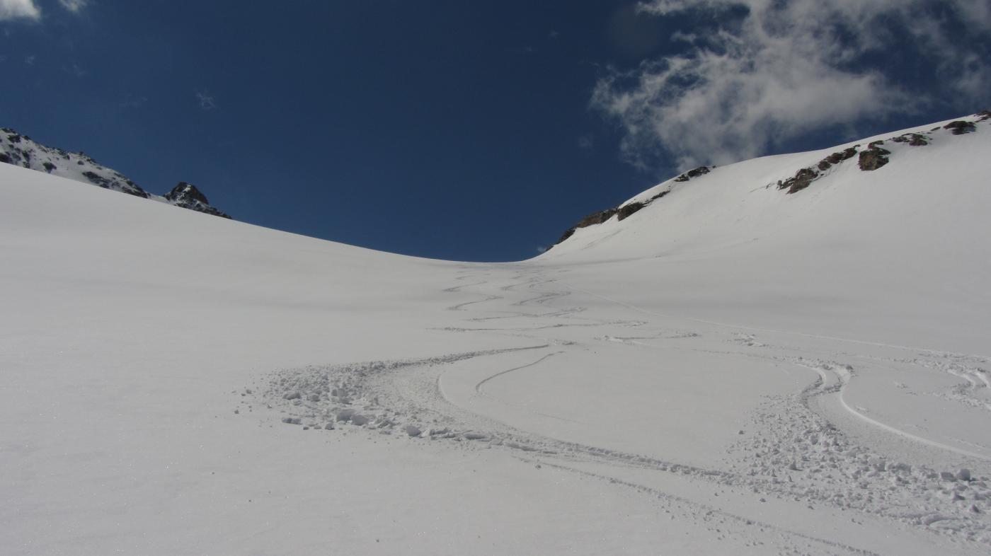 Bella discesa sul ghiacciaio di Giasson