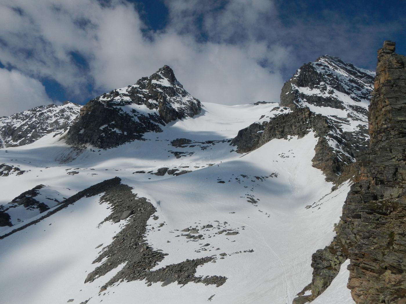 dal colletto gran vista sul ghiacciaio del Carro