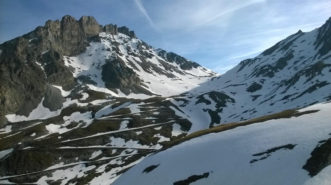 Poca neve verso la Rognosa d'Etiache