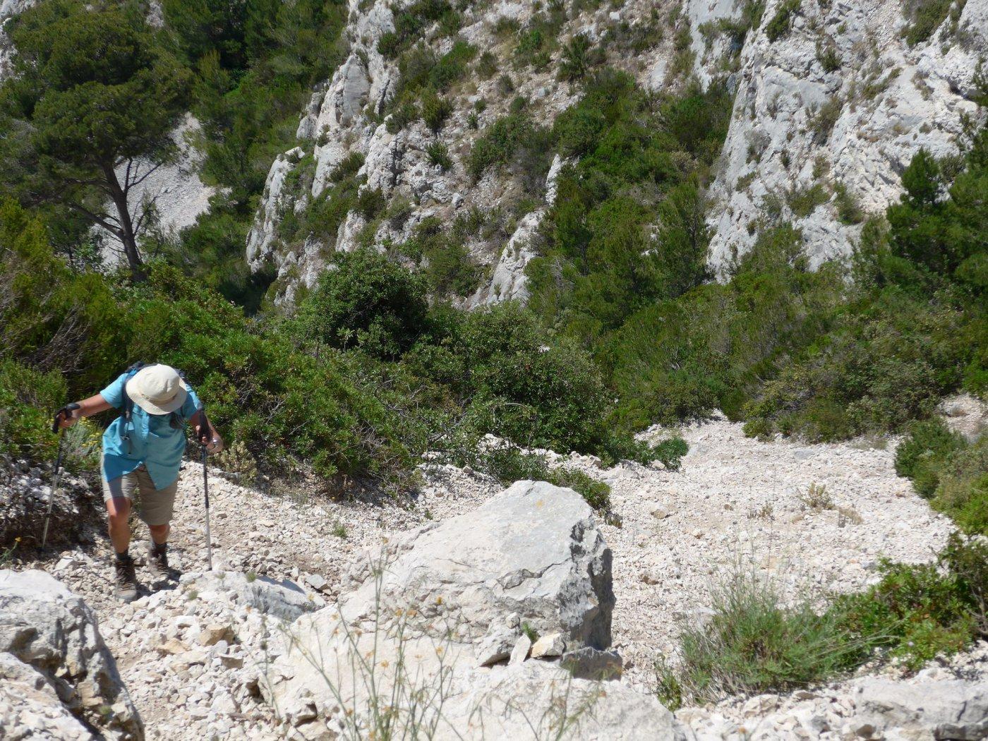 In salita sul ripido vallon de Podestat