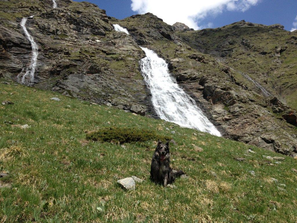 La spettacolare cascata del Grapillon appena passata l'alpe di Saxe Ponton