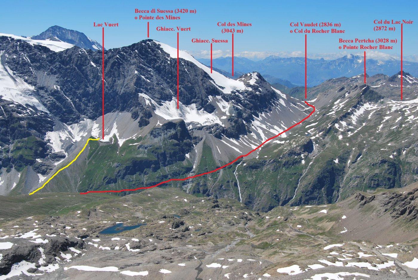 Col Vaudet, Lago di Vuert e relativi percorsi di accesso visti dalla vetta del Truc Blanc (Luglio 2010)