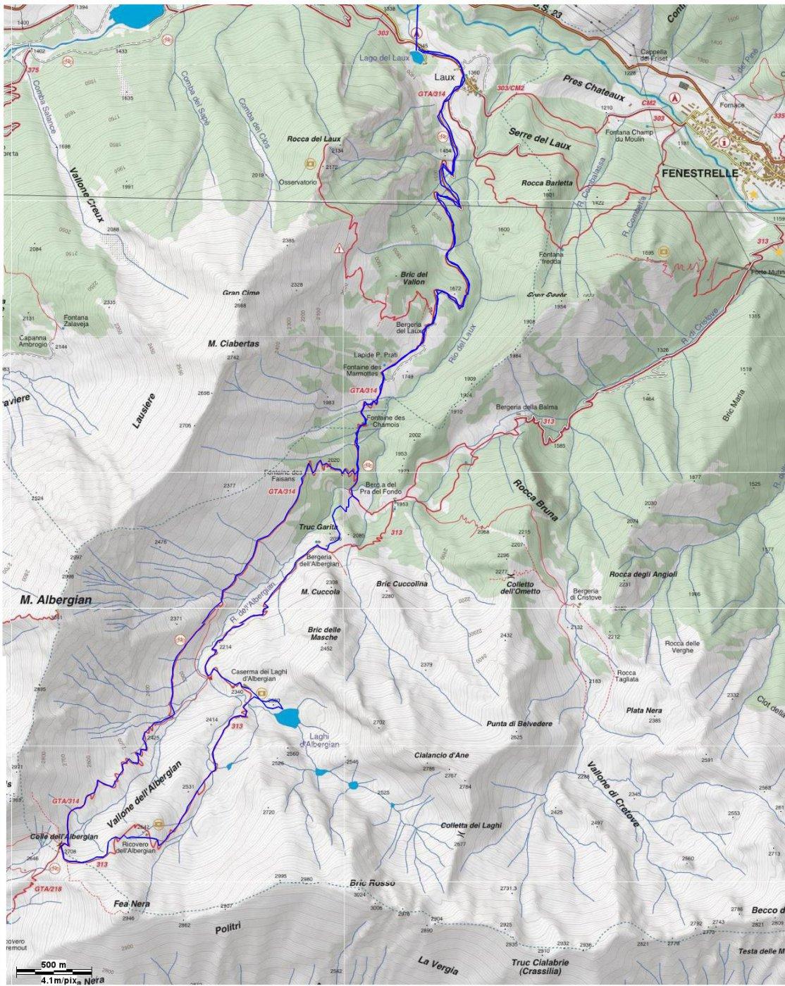 cartina Fraternali e traccia gps